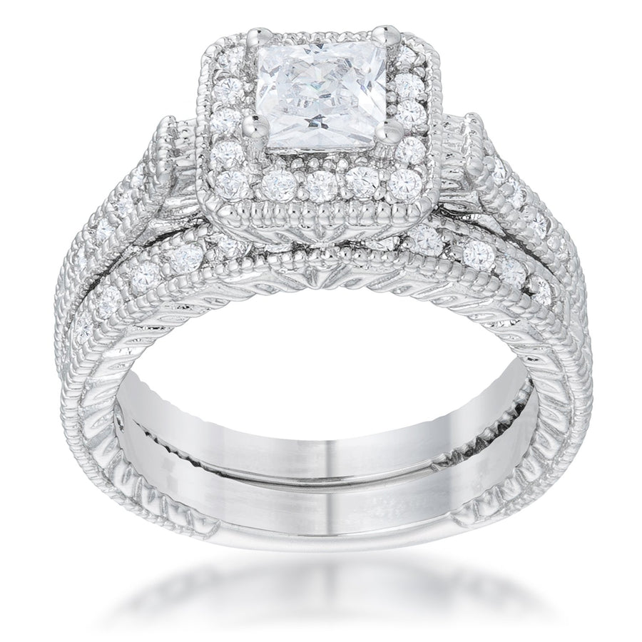 Art Deco Princess Cut Bridal Set - Jewelry Xoxo