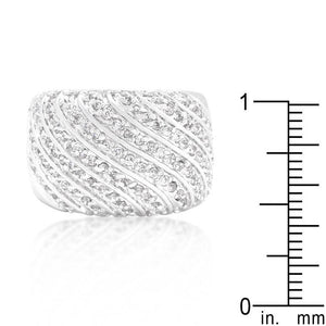 Cubic Zirconia Pave Diagonal Ring - Jewelry Xoxo