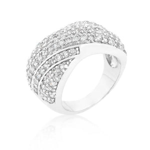 Pave Overlap Diagonal Ring - Jewelry Xoxo