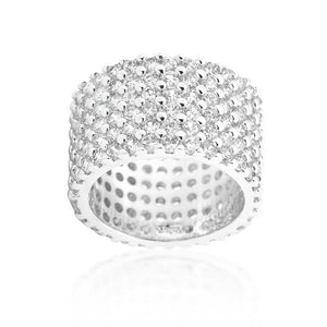 Rhodium Plated Finishd Wide Pave Cubic Zirconia Ring - Jewelry Xoxo