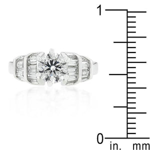 Tapered Baguette Cubic Zirconia Engagement Ring - Jewelry Xoxo