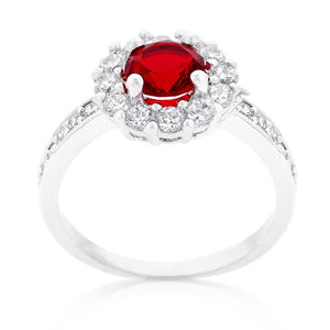Ruby Red Halo Engagement Ring - Jewelry Xoxo