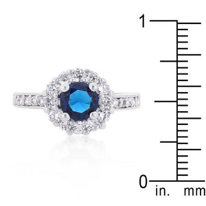 Sapphire Blue Halo Engagement Ring - Jewelry Xoxo