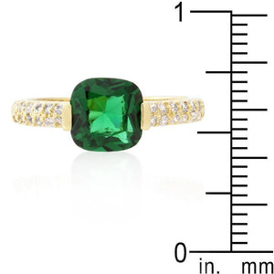 Green Cushion Cut Cubic Zirconia Engagement Ring - Jewelry Xoxo