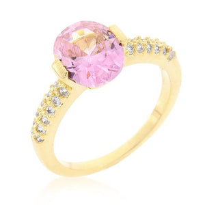 Pink Oval Cubic Zirconia Engagement Ring - Jewelry Xoxo
