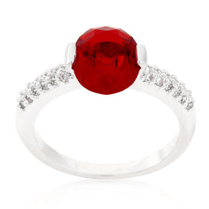 Red Oval Cubic Zirconia Engagement Ring - Jewelry Xoxo