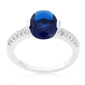 Blue Oval Cubic Zirconia Engagement Ring - Jewelry Xoxo