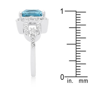 Halo Style Princess Cut Aqua Blue Cocktail Ring - Jewelry Xoxo