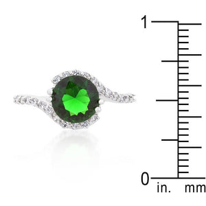 Green Swirling Engagement Ring - Jewelry Xoxo