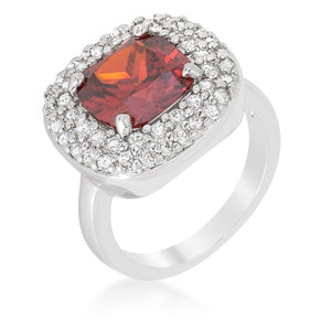 Micropave Red Bridal Cocktail Ring - Jewelry Xoxo