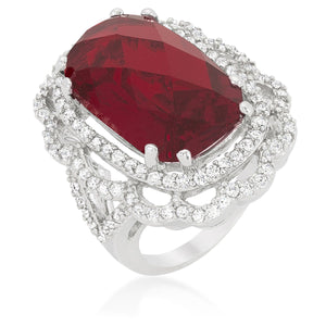 Red Cocktail Crest Ring - Jewelry Xoxo