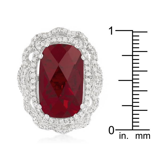 Red Cocktail Crest Ring