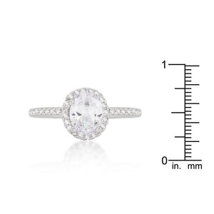 Oval-Cut Floating Halo Cubic Zirconia Engagement Ring - Jewelry Xoxo