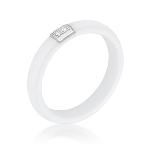 White Ceramic Band Ring With Cubic Zirconia - Jewelry Xoxo