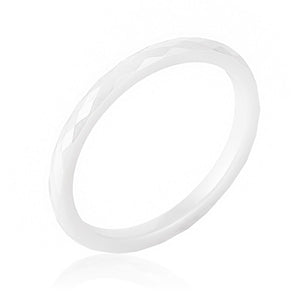 White Ceramic Band Ring - Jewelry Xoxo