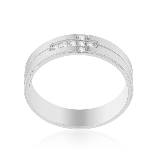 Band Ring with Cubic Zirconia Cross Design - Jewelry Xoxo
