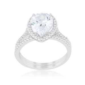 Halo Solitaire Pear Engagement Ring - Jewelry Xoxo