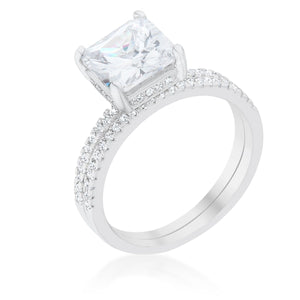 Princess Solitaire Wedding Set Ring - Jewelry Xoxo