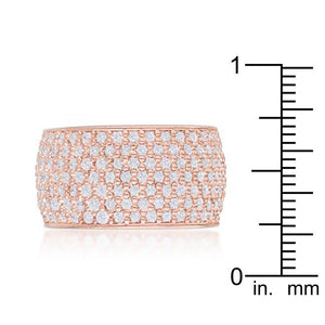 Wide Pave Cubic Zirconia Rose Gold Band Ring - Jewelry Xoxo