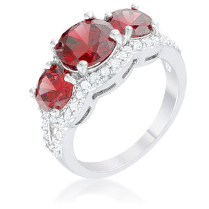 Garnet Classic Trio Ring - Jewelry Xoxo