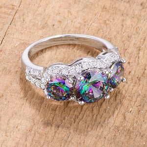 4 Ct Three Stone Rhodium Ring with Mystic and Clear CZ - Jewelry Xoxo