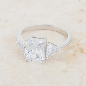 Classic Clear Rhodium Engagement Ring - Jewelry Xoxo