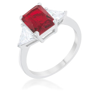 Classic Ruby Rhodium Engagement Ring - Jewelry Xoxo