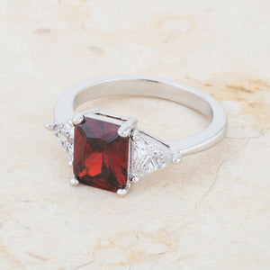Classic Garnet Rhodium Engagement Ring - Jewelry Xoxo