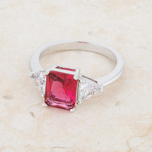 Classic Fuchsia Rhodium Engagement Ring - Jewelry Xoxo