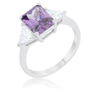 Classic Amethyst Rhodium Engagement Ring - Jewelry Xoxo