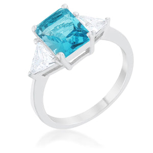 Classic Blue Topaz Rhodium Engagement Ring - Jewelry Xoxo
