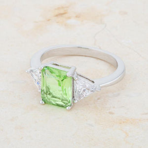 Classic Apple Green Rhodium Engagement Ring - Jewelry Xoxo