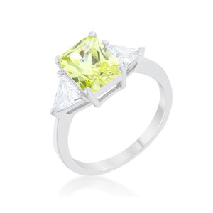 Classic Peridot Rhodium Engagement Ring - Jewelry Xoxo