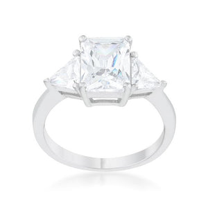 Classic Clear Sterling Silver Engagement Ring - Jewelry Xoxo