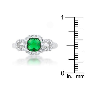 Liz 1.1ct Emerald CZ Rhodium Classic Ring - Jewelry Xoxo