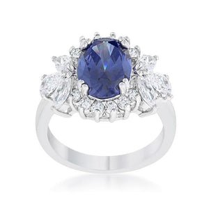 Krizia 4.2ct Tanzanite CZ Rhodium Classic Ring - Jewelry Xoxo
