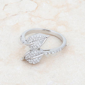 Liana 0.1ct CZ Rhodium Leaf Wrap Ring - Jewelry Xoxo