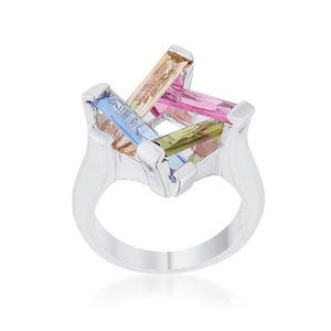 Myra Ring 10ct Multicolor CZ Rhodium Cocktail Ring - Jewelry Xoxo