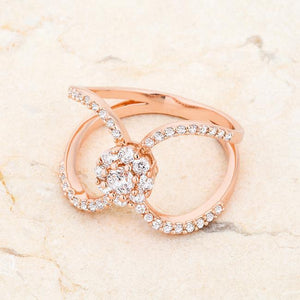 Joyce 0.4ct CZ Rose Gold Delicate Floral Wrap Ring - Jewelry Xoxo
