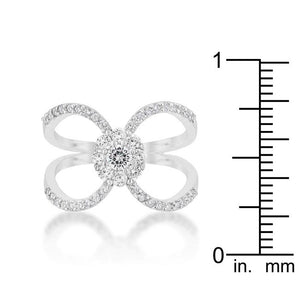 Joyce 0.4ct CZ Rhodium Delicate Floral Wrap Ring - Jewelry Xoxo