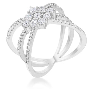 Rhodium Plated Mindy 0.8ct CZ Delicate Triple Wrap Ring - Jewelry Xoxo