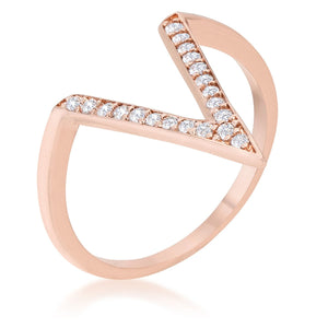 Michelle 0.2ct CZ Rose Gold Delicate V-Shape Ring - Jewelry Xoxo
