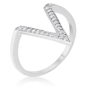 Michelle 0.2ct CZ Rhodium Delicate V-Shape Ring - Jewelry Xoxo