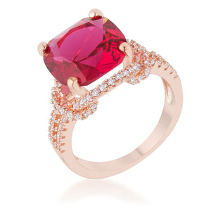 Charlene 6.2ct Ruby CZ Rose Gold Classic Statement Ring - Jewelry Xoxo