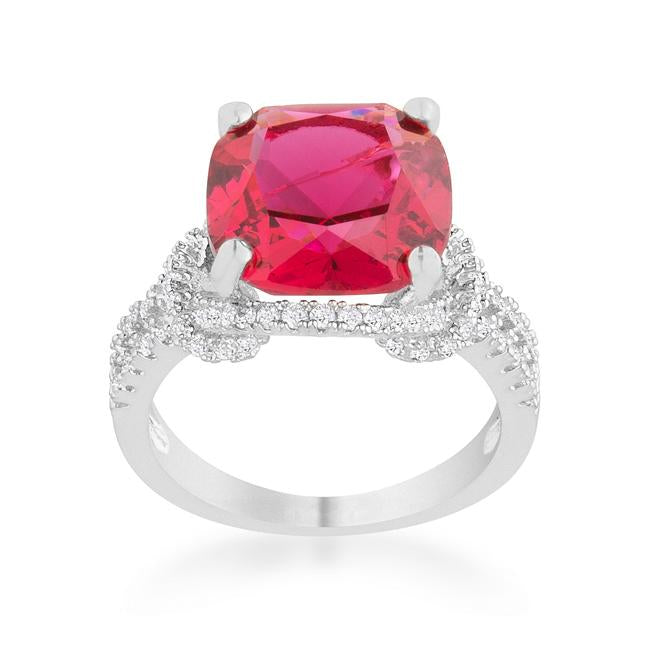 Charlene 6.2ct Ruby CZ Rhodium Classic Statement Ring - Jewelry Xoxo