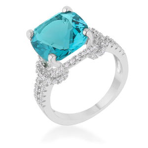 Charlene 6.2ct Aqua CZ Rhodium Classic Statement Ring - Jewelry Xoxo