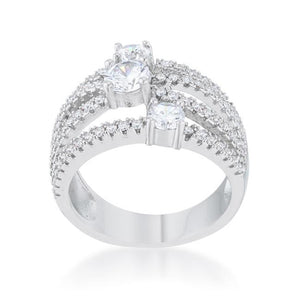 Beatrice 1.8ct CZ Rhodium Statement Ring - Jewelry Xoxo