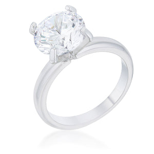 Hanna 4.4ct CZ Rhodium Classic Solitaire Ring - Jewelry Xoxo
