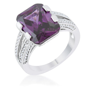 Rema 8.6ct Amethyst CZ Rhodium Emerald Classic Cocktail Ring - Jewelry Xoxo
