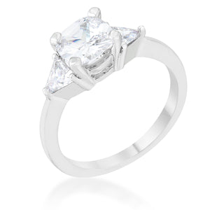 Shonda 1.8ct Clear CZ Rhodium Cushion Classic Statement Ring - Jewelry Xoxo